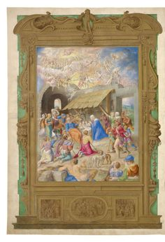 The Nativity. [Full-page miniature of the Nativity, showing the adoration o. Bible Covers, Sistine Chapel, O Holy Night, Book Of Hours, Prayer Book, New York Public Library, Christian Art, Illuminated Manuscript, 16th Century