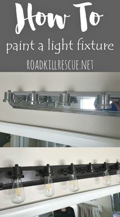 How To Paint a Light Fixture From Reinvented. Don't throw away your dated light fixture, update it with a coat of paint. A Trash to Treasure DIY project for the weekend! Painting Light Fixtures, Bathroom Light Fixtures, Rustic Bathroom Lighting, Home Lighting, Home Upgrades, Diy Regal, Master Bathroom, Paint Bathroom, Bathroom Ideas
