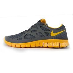 Nike Free Run +2 Heren Hardloopschoenen Grijs Geel Oranje cbdc847c713f8
