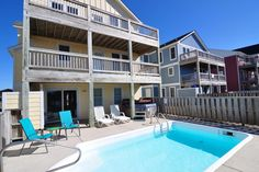 JR243: Shore Thing | Nags Head Rentals | Village Realty. 5 bedrooms, 4 full baths, 1 half bath.  Shore Thing has everything your family will need for a truly relaxing vacation.  Enjoy your own private pool and hot tub and rec room with a pool table.  Close to the beach, shopping, restaurants and many activities. TVs, Blu-Ray player, WIFI, and a high chair and pack-n-play for the little ones