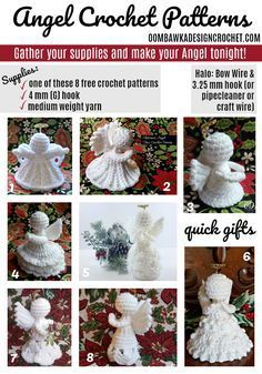 Free Crochet Angel Patterns Designed by Oombawka Design Crochet Medium Weight Yarn and a 4 mm G hook Each Angel can be crocheted in an evening (they are quick and easy! I used Red Heart Super Saver in White and a 4 mm (G) crochet hook. Crochet Christmas Decorations, Crochet Ornaments, Christmas Crochet Patterns, Holiday Crochet, Crochet Snowflakes, Crochet Gifts, Cute Crochet, Crochet Angel Pattern, Crochet Angels