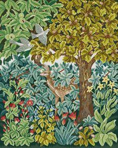 NeedlepointUS - encaje de aguja de clase mundial - Beth Russell encaje de aguja - Henry Dearle El verde Colección - Deer Firescreen / Imagen / colgante - Kit, kits del encaje de aguja, DF0101K