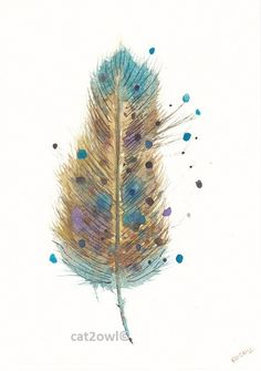 Abstract Feather - golden brown, teal, blue and purple - Original Watercolor Painting 5 by 8 inches