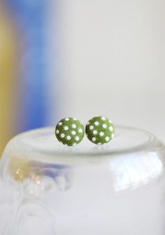 Button Earrings - Green
