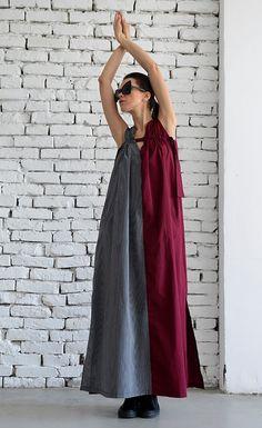 New Long Maxi Dress Grey and Burgundy by METAMORPHOZA.