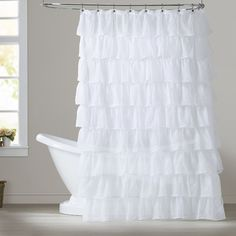Features:  -Material: Polyester.  -Style: French & French Country.  Product Type: -Shower curtain.  Material: -Polyester.  Pattern: -Solid.  Hooks Required: -Yes. Dimensions:  Overall Height - Top to