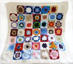 Multicolored Granny Square Baby Blanket  Hand by lauraprilltoo