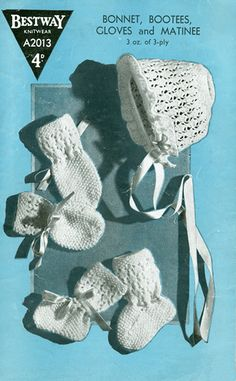 Items similar to PDF Vintage Baby Knitting Pattern Bestway Heirloom Lacy Matinee Halo Bonnet Bootees Mittens Ephemera Old Fashioned Layette on Etsy Baby Knitting Patterns, Crochet Patterns, Crochet Baby, Knit Crochet, Moss Stitch, Baby Bonnets, Baby Christening, Vintage Knitting, Mittens