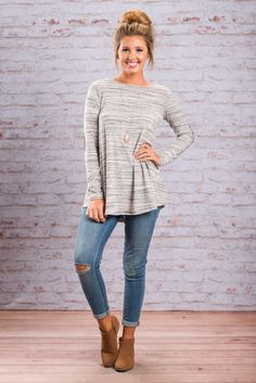 """Home Is With You Tunic, Gray""You will feel at home wherever you in this wonderfully comfy tunic! The fabric has the perfect amount of stretch and the colors are beautifully neutral! #newarrivals #shopthemint"