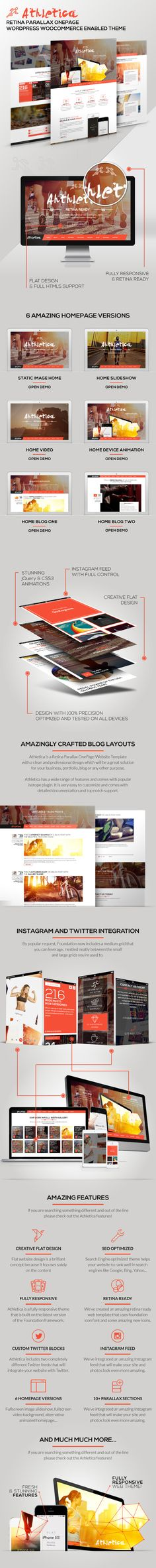 Buy Athletica - Retina Parallax OnePage WP Shop Theme by AVAThemes on ThemeForest. Description Athletica is a Retina Parallax OnePage WordPress WooCommerce enabled Theme with a clean and professional. Great Website Design, Modern Website, Website Design Inspiration, Event Website, Website Themes, Page Design, Web Design, Graphic Design, Gui Interface