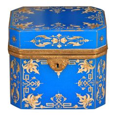 A very nice French opaline decorative box or casket decorated with applied gilt tracery; Opaline glass, brass and gilding; French c. 1850.