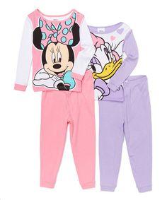 Look at this #zulilyfind! Minnie Mouse & Daisy Duck Four-Piece Pajama Set - Toddler #zulilyfinds