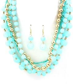 SassySexyCool.com $24 <3 Multi Strand Beaded Long Necklace & Earring Set - Turquoise & Gold