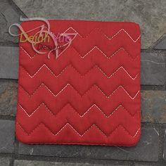 Chevron Coaster ITH Embroidery Desgin