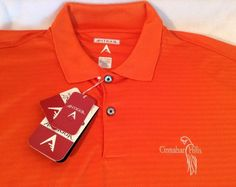 Antigua Desert Dry Golf Polo Rugby Short Sleeve Polyester Orange Men's 2XL NWT #Antigua #PoloRugby