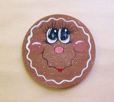 Whimsical Big Eyed Gingerbread Face Handpainted HP Wooden Fridge Magnet Christmas Gingerbread, Christmas Cookies, Christmas Crafts, Xmas, Christmas Ornaments, Country Paintings, Hand Painted Ornaments, Tole Painting, Jar Lids