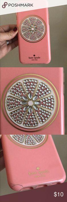 kate spade grapefruit iphone case iphone 6 used with a small crack still gorgeous orig 60 kate spade Accessories Phone Cases