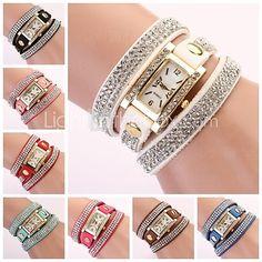 Women's Watch Rectangular Diamond Dial Rhinestone Band - USD $6.99