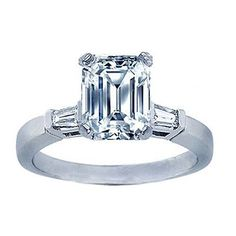 1.08 CARAT EMERALD CUT REAL DIAMOND BAGUETTE ENGAGEMENT RING GAL CERTIFIED #ClassicDiamondhouse #SolitairewithAccents