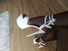 White platform heels and black stockings Sexy Sandals, Sexy Heels, Strappy Heels, Stiletto Heels, Lady Stockings, Stockings Heels, Nylons And Pantyhose, Nylons Heels, Gorgeous Heels