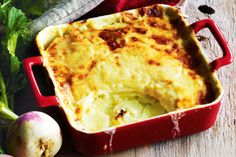 Rich with gruyère, this classic French side has sweetness from turnips and buttery leeks. Team this peppery root vegie with potato in soups, arrange it around a roast or layer it in our creamy bake. Leek Recipes, Cheese Recipes, Fall Recipes, Baking Recipes, Savoury Recipes, Vegetarian Comfort Food, Vegetarian Bake, Vegetarian Recipes, Creamy Potato Bake