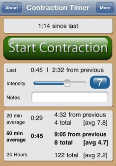 """Labor & Contraction Timer App - just click """"start"""" and """"stop"""" and it keeps a log for you."""