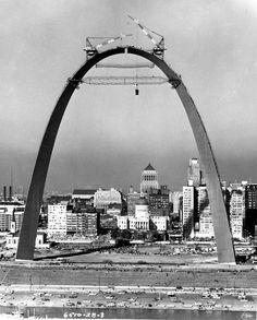 St. Louis Arch under construction. Circa 1965?