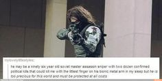 Bucky is too precious, yet I'm sure a million fangirls will protect him.
