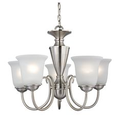 Westmore Lighting Bellwood 23-in 5-Light Brushed Nickel Tinted Glass Shaded Chandelier