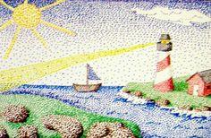 Pointillism Landscape like the artist George Seurat.