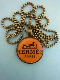 Hermes logo pendant horse equestrian necklace by WilmaandBetty, 9.00...so want this