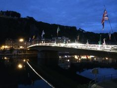 Dinant by night celebrating 200th birthday saxophone
