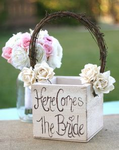 Shabby Chic Flower Girl Basket Rustic Wedding by braggingbags, $45.50