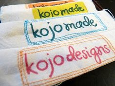 sew: make your own fabric labels || kojodesigns