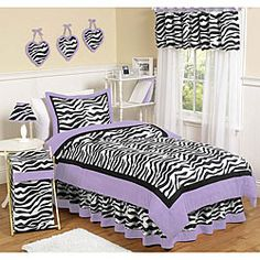 @Overstock.com.com - Perk up her room's decor with this exciting zebra-print and purple bedding set. Set includes one lightweight full/queen comforter and two standard pillow shams. The 100 percent cotton material is machine washable for convenient cleaning.http://www.overstock.com/Bedding-Bath/Sweet-JoJo-Designs-Purple-Funky-Zebra-3-piece-Full-Queen-size-Bedding-Set/5729030/product.html?CID=214117 $99.99
