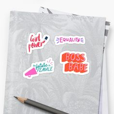 We should all be feminists feminism girl power, equality, boss babe, the future is female sticker set pack. • Millions of unique designs by independent artists. Find your thing. Transparent Stickers, Glossier Stickers, Boss Babe, Cotton Tote Bags, Girl Power, Feminism, Equality, Finding Yourself, Packing