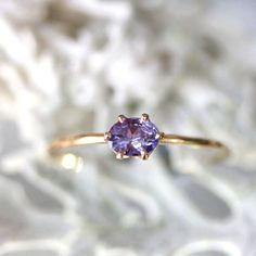 Purple Princess - Purple - blue Tanzanite 14K Gold Ring, Gemstone Ring, Stacking Ring (Limited Edition) - Made To Order