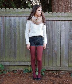 Fur Scarf + White Sweater + Denim Shorts + Burgundy Tights + Flats