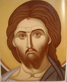 Face of Christ.  Style of Panselinos.  Stage 1.