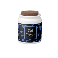 Shop Black & Blue Kitty Pattern Candy Jar created by thepawkinglot. Custom Candy, Creature Comforts, Cat Treats, Having A Blast, Hard Candy, Candy Jars, Cute Pattern, Pet Shop, White Porcelain