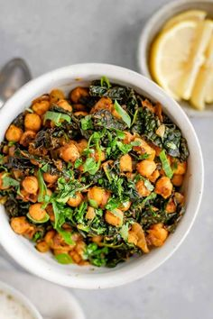 Indian Spiced Chickpeas and Greens! Check this out!