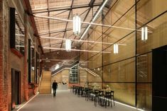 Dutch firm van Dongen-Koschuch has converted an old maritime building in the Netherlands into a theatre with a glass auditorium interieur verlichting glas begrenzing loft theater cafe bar trap scheiding Space Interiors, Hotel Interiors, Office Interiors, Loft Theatre, Fibreglass Roof, Adaptive Reuse, Open Office, Roof Design, Dezeen