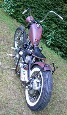 Photo of Harley Sportster Bobber with 1972 Ironhead Engine in Paughco hardtail frame by Pedro.