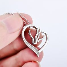Buy Heart Pendant Bracelet by Luvalti - Horse Heart Jewelry - Family and Friends - at online store Fashion Jewelry Necklaces, Heart Jewelry, Metal Jewelry, Fashion Necklace, Jewelry Shop, Jewlery, Horse Necklace, Heart Pendant Necklace, Sterling Silver Necklaces