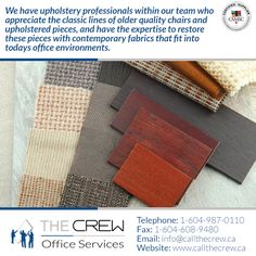 From sanding, stripping and repainting wood to expertly cleaning workstation panels or refinishing a scratched filing cabinet, to even fixing an office chair that squeaks. Call The Crew! Office Moving, Filing Cabinet, Office Furniture, Things To Come, Card Holder, Cleaning, Chair, Wood, Recliner