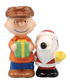 Look what I found on #zulily! Two-Piece Santa Snoopy & Charlie Brown Salt & Pepper Shaker Set #zulilyfinds