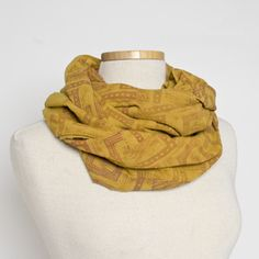 Hand dyed (pictured: natural dye Myrobalan) cotton scarves by Margie Davidson (Edmonton, AB) Member of the Alberta Craft Council.