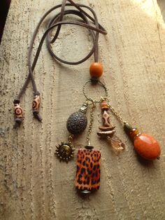 africa orange charm necklace by DesisDesignsShop on Etsy