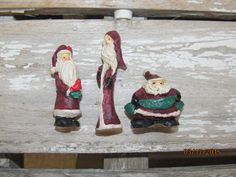 """Miniature Resin Santa Clause Christmas Figuries  Dollhouse Doll House 1 - 2"""" set of 3 pieces by EvenTheKitchenSinkOH on Etsy"""
