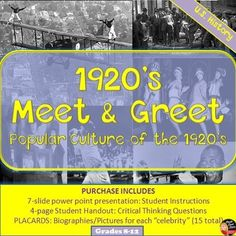 """This is a fun and interactive activity your secondary U.S History students will love! Students will participate in a """"meet and greet"""" with popular celebrities of the to learn about the popular culture of this era. 8th Grade History, History Class, Teaching History, Us History, 5th Grade Social Studies, Teaching Social Studies, Interactive Activities, Classroom Activities, History Lesson Plans"""